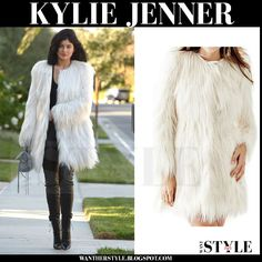 0fabe54eb1 Kylie Jenner in white faux fur coat and black leather leggings