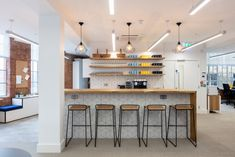 ThirdWay Interiors designed the offices to accommodate the growing needs of financial technology company, TrueLayer, located in London, England. Home Furniture, Furniture Design, Banquette Seating, Soft Seating, Exposed Brick, Office Interiors, Contemporary Furniture, London, Interior Design