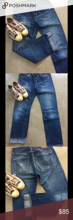 """DENIME AUTHENTIC JAPANESE INDIGO JEANS From the best vintage reproduction company these are great 60's repro indigo jeans. $2-300 new these are in great condition, one button hole needs a couple of stitches, the rest all original, super color, grain and vintage look  Waist measures 31"""" and length 31"""" Denime authentic Jeans Boyfriend"""