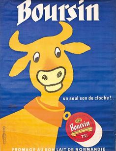 fromage Boursin - fromage au bon lait de Normandie - 1961 - illustration de Hervé Morvan -
