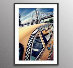 New York print 59th Checker Cab-Queensboro Bridge-Yellow Cab-New York City-Nyc Architecture print-NYC gift,Landscape Art-NYC photo- nyc gift