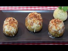 Cómo hacer patatas rellenas de carne y jamón al horno - YouTube