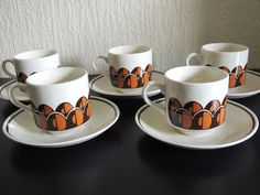 Vintage 70's Arklow pottery Set of 5 Coffee Cups. I found a milk jug in this which I use as a gravy jug!
