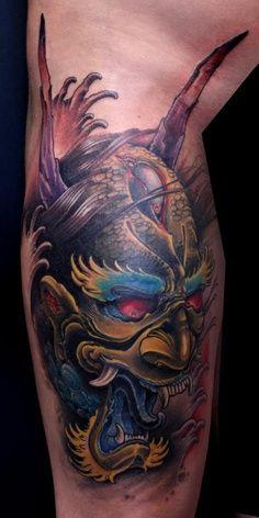 Samurai Oni Mask Tattoos | ... Oni Mask live in color! Artist: Eddie Stacy #tats #tattoos #tattoo #