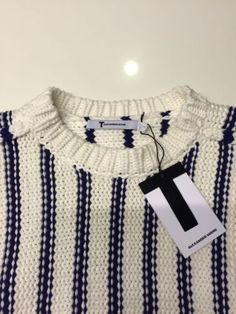 T-by-Alexander-Wang-Striped-Chunky-Knit-Cotton-Dolman-Sleeved-Sweater-XS-NWT