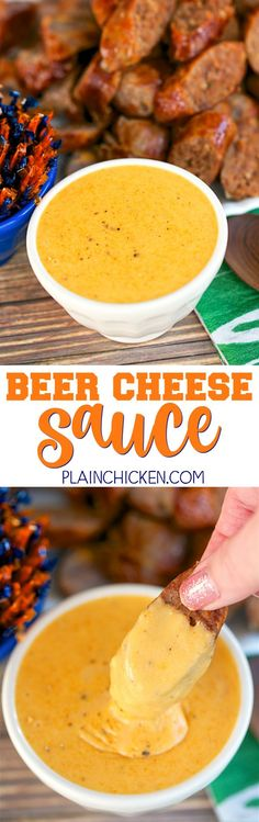 Beer Cheese Sauce - CRAZY good! Beer, cheese, flour, worcestershire sauce, dry mustard and paprika. Takes less than 5 minutes to make. Tastes just like the beer cheese sauce from our favorite Irish pub. Great with grilled sausages!!