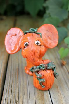 Pumpkin Patch Elephant Polymer Clay Sculpture by mirandascritters