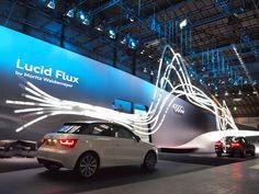 Audi – Lucid Flux / MORITZ WALDEMEYER  Impressive large backdrop with what looks like some animated light pipes/ tubes.