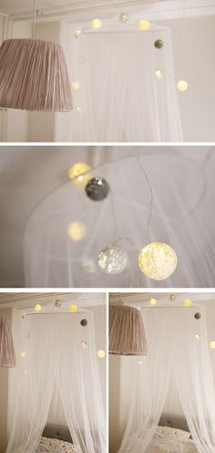 DIY cotton lights - (vattenballonger, tapetkliser, garn och ljusslinga)