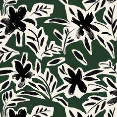 Polyester Cari Floral Pillow Square Green/Black - Cloth & Co. Polyester Cari Floral Pillow Square Green/Black - Cloth & Co. Textiles, Textile Patterns, Print Patterns, Floral Pattern Print, Floral Prints, Floral Pillows, Art Graphique, Texture Design, Surface Pattern Design
