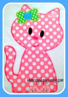 Simple Kitty Cat Applique Design raggety finish and zigzag finish stitch Applique Letters, Baby Applique, Applique Templates, Machine Embroidery Applique, Applique Quilts, Applique Designs, Embroidery Patterns, Quilt Patterns, Letter Templates