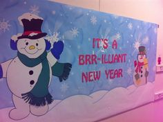 """It's a BRR-illiant New Year"" - New Years Bulletin Board Idea - Dilara Yucesoy - - ""It's a BRR-illiant New Year"" - New Years Bulletin Board Idea - Dilara Yucesoy Bulletin Board Paper, Halloween Bulletin Boards, Christmas Bulletin Boards, Winter Bulletin Boards, Library Bulletin Boards, Preschool Bulletin Boards, Bulletin Board Display, Classroom Bulletin Boards, Bullentin Boards"