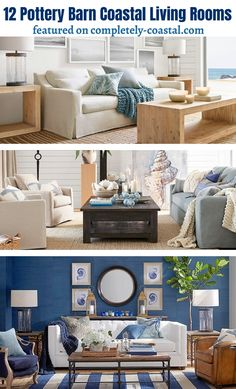 Entire collection of great coastal living room design ideas from Pottery Barn. Featured on Completely Coastal. Beach Living Room, Glam Living Room, Barn Living, Living Room Decor Cozy, Coastal Living Rooms, Living Room Modern, Living Room Designs, Coastal Homes, Chic Apartment Decor