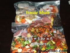Freezer Meals - $35 plus 1 hour equals 5 dinners ready to go! Gluten Free and oh so simple  (scheduled via http://www.tailwindapp.com?ref=scheduled_pin&post=222229)