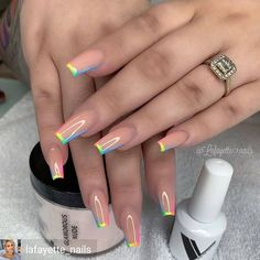 In summer I always like to wear a lot of color on my nails. Not only on my nails but my clothing too haha. So these super cool nails are perfect for upcoming spring and summer. They are colorful but… Aycrlic Nails, Manicure, Nail Nail, Crome Nails, Fire Nails, Best Acrylic Nails, Painted Acrylic Nails, Acrylic Art, Dream Nails