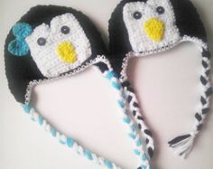 Penguin Crochet Hat Baby Child or Adult Boy or Girl bow or flower Winter Hat