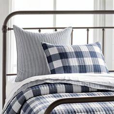 Kipton Buffalo Check Quilt and Shams Buffalo Check Bedding, Romantic Bedroom Decor, Bedroom Ideas, Bedroom Inspiration, Floral Comforter, Guest Bedrooms, Master Bedroom, White Bedroom, Master Suite