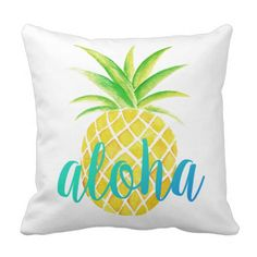 Shop Pineapple Watercolor Aloha Tropical Turquoise Throw Pillow created by NotableNovelties. Turquoise Throw Pillows, Pink Throw Pillows, Throw Pillow Covers, Pineapple Room Decor, Custom Pillows, Decorative Pillows, Tropical Bedrooms, Pink Throws, Pineapple Watercolor