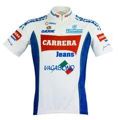 Team Carrera White Short Sleeve Bike Jersey – Nalini USA Pro Cycling, Cycling Jerseys, Vintage Cycles, Cycling Outfit, Cycling Clothing, Jersey Shirt, Workout Shorts, Carrera, Blue Jeans