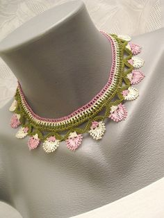 Necklace with needle lace by StudioCybele on Etsy, $39.00