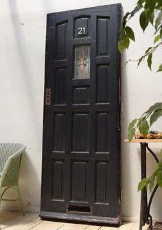 イギリス アンティーク ガラス入り木製ドア 扉 ディスプレイ 建具 4028