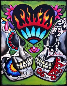 Two of Hearts, Day of the Dead Art by Melody Smith