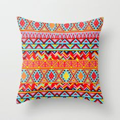 India Style Pattern (Multicolor) Throw Pillow by Maximilian San - $20.00
