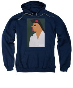 Patrick Francis Navy Designer Hooded Sweatshirt featuring the painting Portrait Of A Woman With Red Ribbon 2014 - After Vincent Van Gogh by Patrick Francis