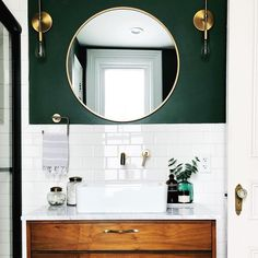 white and green bathroom with round mirror - Badezimmer Deko Ideen Diy Bathroom, Bathroom Renos, Bathroom Green, Small Bathroom Ideas, Dark Green Bathrooms, Bathroom Vanities, Bathroom Colours, Bathroom Accent Wall, Colorful Bathroom
