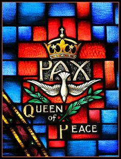 Mary, Queen of Peace, Stained Glass Window at St. Mary's Catholic Church, Denville, New Jersey Antique Stained Glass Windows, Stained Glass Art, Mosaic Glass, Church Windows, Spiritus, Religious Images, Blessed Virgin Mary, Catholic Art, Blessed Mother