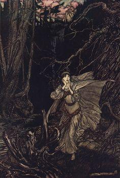 """""""Bertalda in the Black Valley"""". Ilustración de Arthur Rackham para """"Undine"""", cuento de Friedrich de la Motte Fouqué, 1909."""