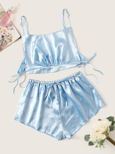 To find out about the Knot Detail Satin Cami Top & Shorts at SHEIN, part of our latest Sexy Lingerie ready to shop online today! Jolie Lingerie, Cute Lingerie, Lingerie Outfits, Cute Sleepwear, Lingerie Sleepwear, Nightwear, Pajama Outfits, Casual Outfits, Cute Outfits