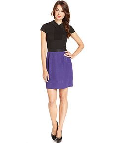 Kensie Dress, Short-Sleeve High-Neck Colorblocked