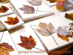Using Mod Podge to mount fall leaves to stretched canvas