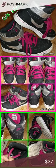 Cute festival Nike sneakers Super cute black/silver/hot pink Nike's. Size 8.5. Good condition just bottoms are dirty. I bought them for myself on here but they fit big so I'm just trying to make my money back. The original house it came must have had pets because there's hair inside the shoes, which didn't bother me one bit. Just informing so there's no surprise and you think in a bad seller. Great sneaker shoes for festival dancing. Which is why I bought them ?? Open to reasonable offers…