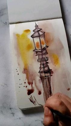 Watercolor Paintings For Beginners, Watercolor Art Lessons, Watercolor Projects, Creation Art, Art Drawings Sketches Simple, Street Lamp, Watercolors, Ideas, Watercolor Techniques