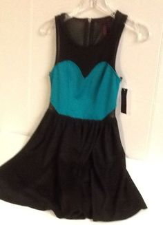 Material Girl Black Green Dress Small See Through Top Sexy New with tag #MaterialGirl #Sundress #Casual