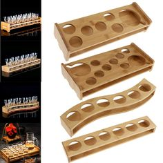 Shot Glass Holder, Glass Holders, Shot Drinking Games, Backyard Bar, Tequila Shots, Bamboo Shoots, Cnc Projects, Wooden Plates, Wood Creations