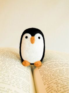 super cute itty bitty felted penguin