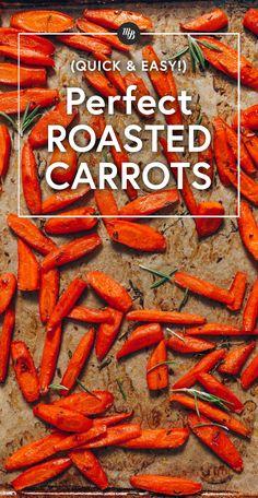 PERFECT Roasted Carrots + Seasonings! 4 ingredients, 1 pan, CRISPY edges, tender center, CARAMELIZED! #carrots #plantbased #minimalistbaker #recipe #glutenfree Roasted Vegetable Recipes, Roasted Vegetables, Vegetable Dishes, Fruits And Veggies, Veggie Recipes, Whole Food Recipes, Vegetarian Recipes, Root Vegetables, Healthy Recipes