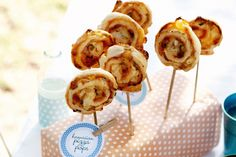 These pizza pops make great party food. Anything on a stick is always a hit!  The recipe is for Hawaiian pops but you can easily subsitute to make them with any toppings you want.