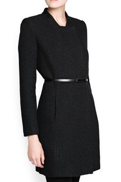 Black Tweed Belted Longline Coat