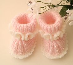 Pink Baby Girl Hand Knit Booties   Knitted Baby Girl Booties   Newborn Girl Booties   Infant Shoes   Baby Girl Slippers   Baby Shower Gift by FirstStepBabyBooties on Etsy