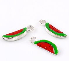 4 Silver and Enamel WATERMELON Charms or Pendants  by SmartParts, $4.89