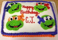 Ninja turtle themed birthday cake.