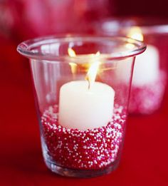votive nestled in red and white sprinkles