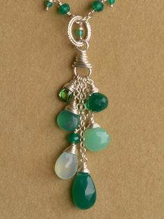 Green broilette dangles