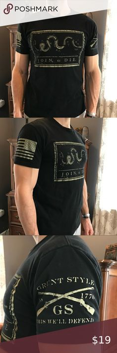 Grunt Style Join or Die T-shirt Worn but in excellent used condition Grunt Style Shirts Tees - Short Sleeve Grunt Style Shirts, Shirt Style, Join Or Die Flag, Conditioner, Tee Shirts, Tees, Flag Shirt, Black Cream, Man Shop