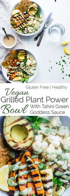 Vegan Grilled Plant Power Bowl - Loaded with tahini grilled avocado, cauliflower, sweet potatoes and zucchini to make a healthy, dairy and gluten free summer meal! Perfect for Meatless Monday! | Foodfaithfitness.com | @FoodFaithFit