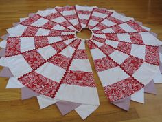 Quilted Christmas Tree Skirt - Red and White. $125.00, via Etsy.